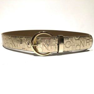 Kenneth Cole Reaction Embossed mirror gold belt